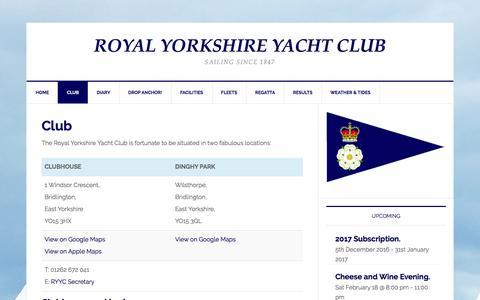 Screenshot of Locations Page ryyc.org.uk - Club - Royal Yorkshire Yacht Club - captured Jan. 31, 2017