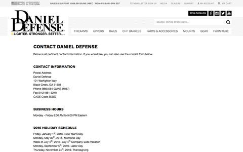 Screenshot of Hours Page danieldefense.com - Contact Us | Daniel Defense - captured Feb. 8, 2016