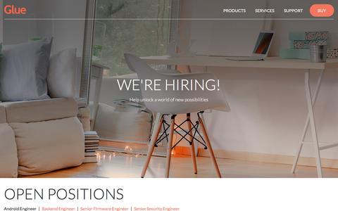Screenshot of Jobs Page gluehome.com - Glue Home - Careers - captured Aug. 23, 2017