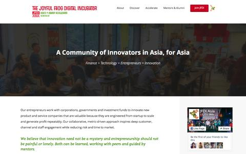 Screenshot of About Page jfdi.asia - A Community of Innovators, in Asia, for Asia - captured Jan. 17, 2016