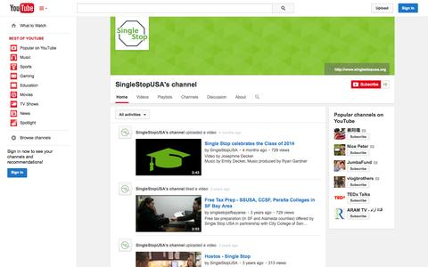 Screenshot of YouTube Page youtube.com - SingleStopUSA's channel  - YouTube - captured Nov. 3, 2014