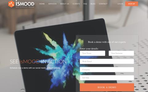 Screenshot of Signup Page ismood.com - Book a Demo - isMOOD - captured Sept. 20, 2018