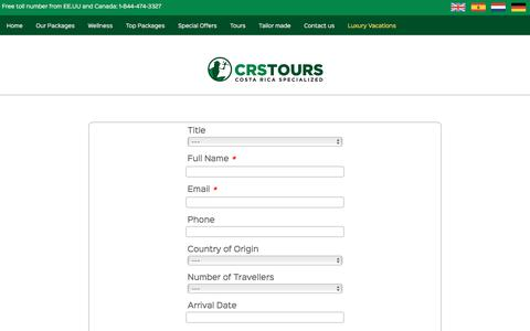 Screenshot of Contact Page crstours.com - Contact Us – CRS-Tours, Costa Rica Best Travel Agency - captured Sept. 25, 2018