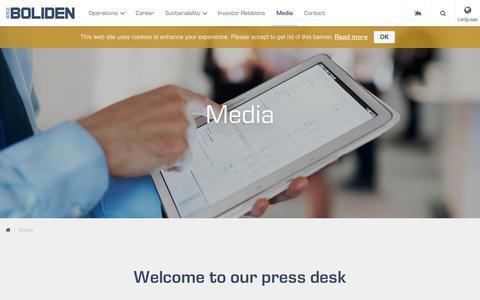 Screenshot of Press Page boliden.com - Media - Boliden - captured June 2, 2017