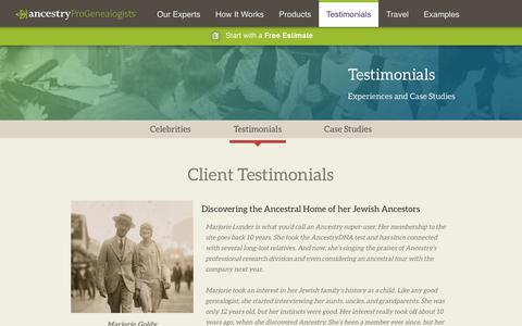 Screenshot of Testimonials Page progenealogists.com - Testimonials - AncestryProGenealogists - captured Sept. 23, 2018