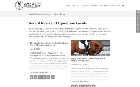 Screenshot of Blog worldequestriancenter.com - Equestrian Events and News | World Equestrian Center - captured June 18, 2016