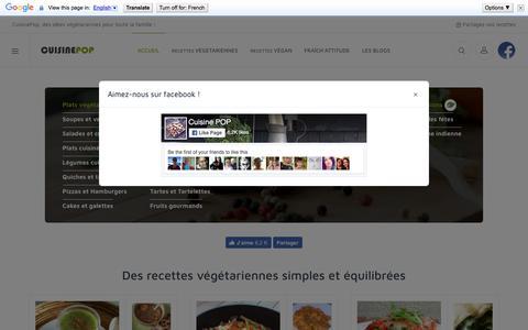 Screenshot of Home Page cuisinepop.com - Recettes végétariennes faciles à préparer. Des nouvelles idées pour cuisiner ! - captured March 24, 2018