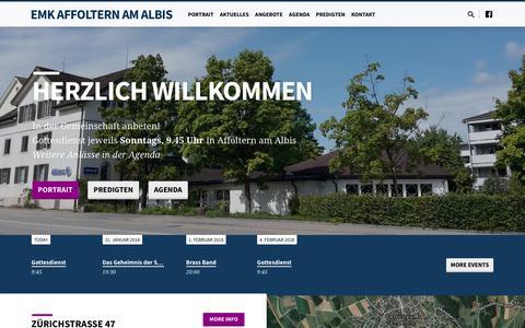 Screenshot of Home Page emk-affoltern.ch - EMK Affoltern am Albis – Evangelisch-methodistische Kirche - captured Jan. 28, 2018