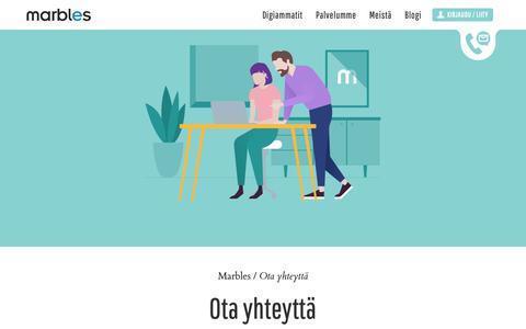 Screenshot of Contact Page marbles.fi - Ota yhteyttä | Marbles - captured Oct. 16, 2018