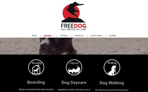 Screenshot of Services Page freedog.us - Free Dog - captured Aug. 22, 2018