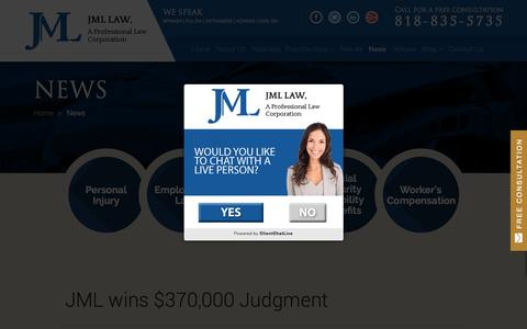 Screenshot of Press Page jmllaw.com - News on Personal Injury and Employment Law | JML Law, A Professional Law Corporation - captured July 27, 2018