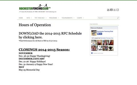 Screenshot of Hours Page rocfencing.com - Hours of Operation | Rochester Fencing Club - captured Oct. 26, 2014
