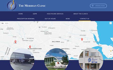 Screenshot of Contact Page meridianclinic.ie - Contact Us - captured June 13, 2018