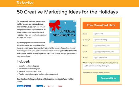 Screenshot of Landing Page thrivehive.com - 50 Creative Marketing Ideas for the Holidays | ThriveHive - captured Aug. 19, 2016