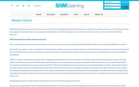 Privacy Policy | SAM Learning