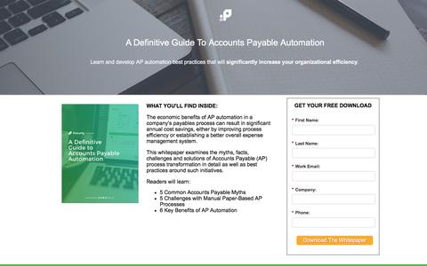 Screenshot of Landing Page procurify.com - A Definitive Guide To Accounts Payable Automation - captured Aug. 19, 2016