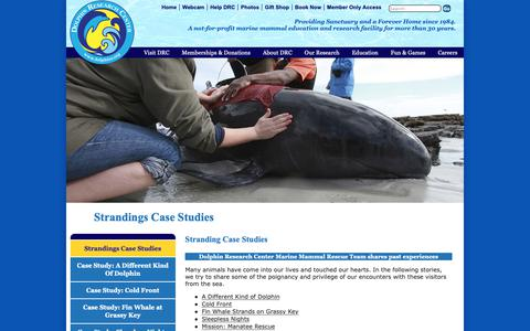 Screenshot of Case Studies Page dolphins.org - Strandings Case Studies - Dolphin Research Center - captured Oct. 9, 2018