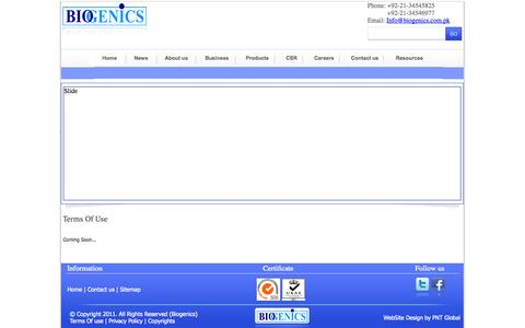Screenshot of Terms Page biogenics.com.pk - Biogenics - captured Oct. 5, 2014