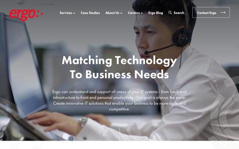 Screenshot of Services Page ergogroup.ie - Matching Technology To Business Needs | Ergo - Leading IT Solutions Provider - captured Sept. 25, 2018