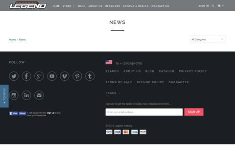 Screenshot of Press Page legendarchery.com - News - Legend Archery - captured July 16, 2015