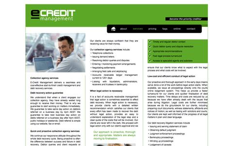 Screenshot of Services Page ecredit.com.au - Collection agency services - proactive debt recovery services - captured Oct. 1, 2014