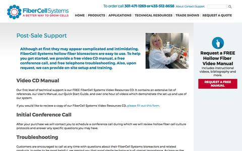Screenshot of Support Page fibercellsystems.com - Post-Sale Support - FiberCell Systems - captured Oct. 13, 2017