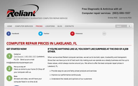 Screenshot of Pricing Page lakelandcomputerrepair.com - Computer Repair Prices in Lakeland, FL - captured Nov. 12, 2017