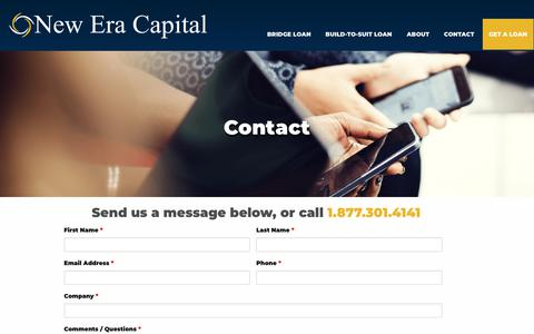 Screenshot of Contact Page neweracapitalinc.com - New Era Capital      Contact - captured Nov. 2, 2018
