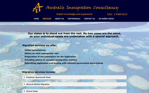 Screenshot of Services Page australisimmigration.com - Services | Australis Immigration - captured Feb. 6, 2016