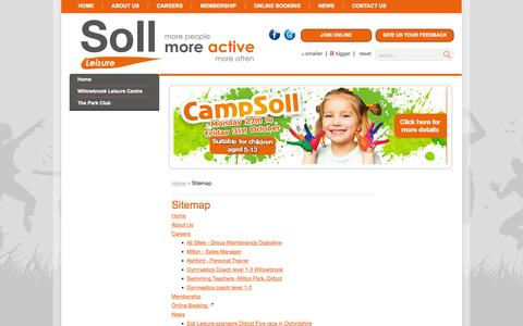 Screenshot of Site Map Page soll-leisure.co.uk - Sitemap - captured Oct. 29, 2014