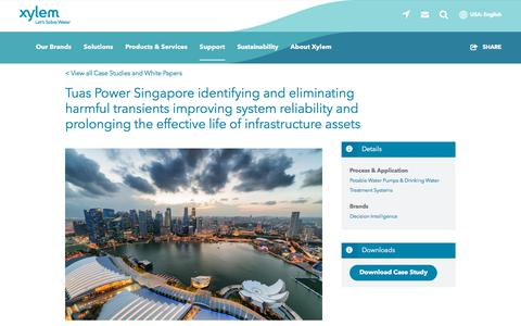 Screenshot of Case Studies Page xylem.com - Tuas Power Singapore identifying and eliminating harmful transients improving system reliability and prolonging the effective life of infrastructure assets   Xylem US - captured Nov. 9, 2019