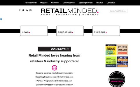 Screenshot of Contact Page retailminded.com captured Feb. 27, 2018