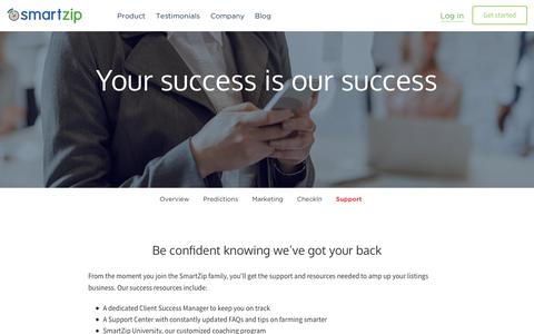 Screenshot of Support Page smartzip.com - Support | SmartZip - captured Dec. 9, 2015