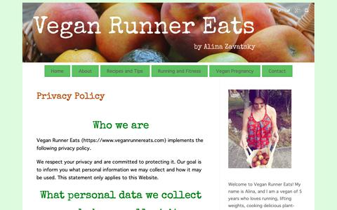 Screenshot of Privacy Page veganrunnereats.com - Privacy Policy | Vegan Runner Eats - captured Oct. 19, 2018