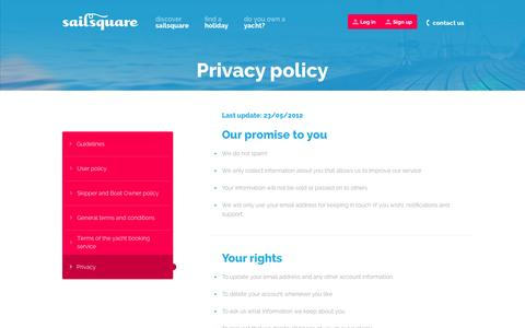Screenshot of Privacy Page sailsquare.com - Find your perfect holiday. Or create it. - captured Sept. 25, 2014