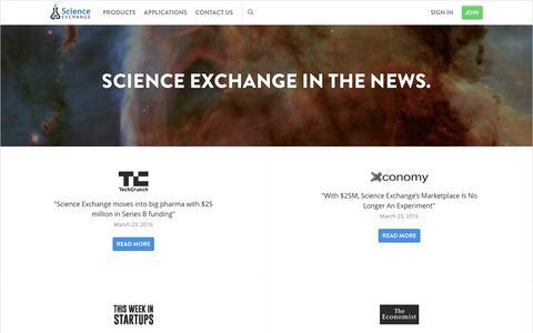 Screenshot of Press Page scienceexchange.com - Press - Science Exchange - captured Nov. 19, 2016