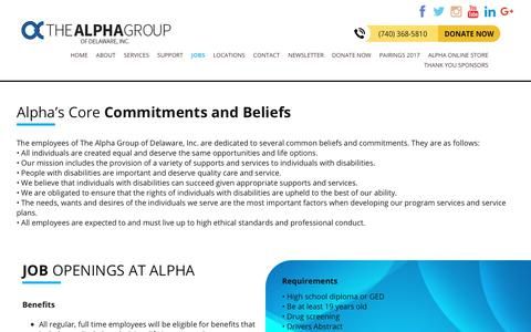 Screenshot of Jobs Page alphagroup.net - Helping People with Disabilities Succeed - Alpha Group of Delaware Inc. - captured Oct. 27, 2017