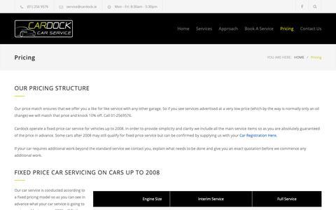 Screenshot of Pricing Page cardock.ie - Pricing – Cardock - captured Nov. 4, 2018