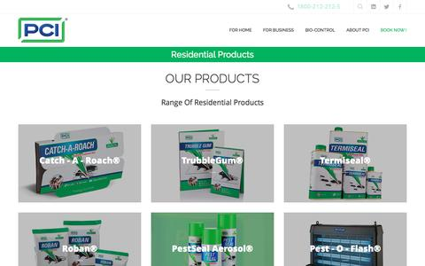 Screenshot of Products Page pestcontrolindia.com - PCI has wide range of pest control products like Catch-A-Roach, Trubble Gum, TermiSeal, PestSeal and many more - captured Jan. 27, 2016