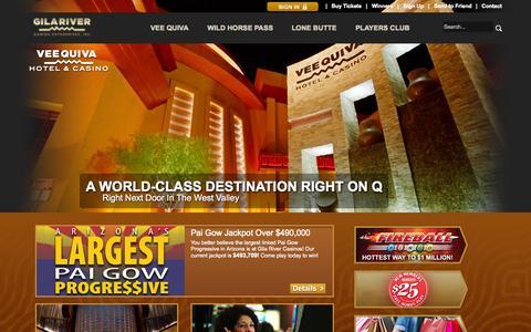 Screenshot of Home Page wingilariver.com - Casino Phoenix - Gila River Casinos - Wild Horse Pass Hotel & Casino - Lone Butte Casino - Vee Quiva Casino - www.wingilacasinos.com - captured Sept. 22, 2014