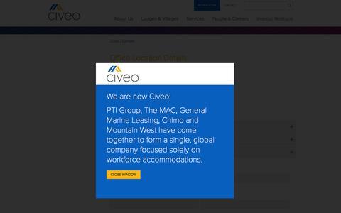 Screenshot of Contact Page civeo.com - Civeo Office Locations | Civeo - captured Dec. 5, 2015