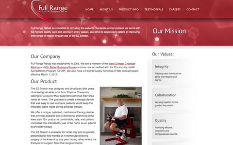 Screenshot of About Page fullrangerehab.com - About Us | EZ Stretch by Full Range Rehab - captured Sept. 3, 2018