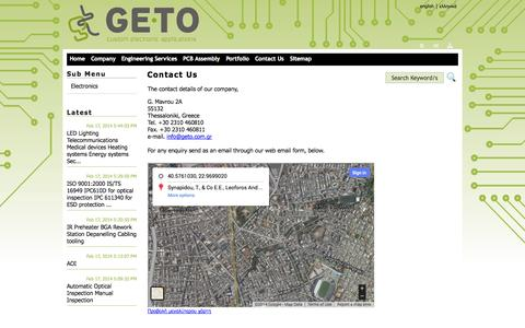 Screenshot of Contact Page geto.com.gr - GETO Custom Electronic Applications | Contact Us - captured Oct. 1, 2014
