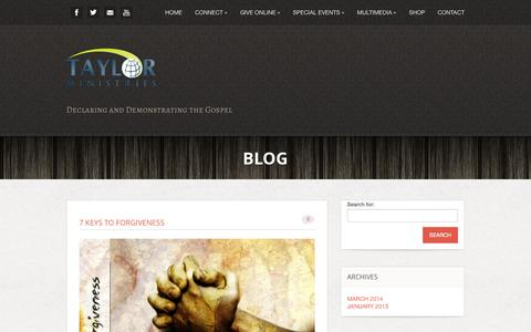 Screenshot of Blog taylorministries.tv - Blog - Taylor Ministries | Jeff Taylor Ministries - - captured Oct. 1, 2014