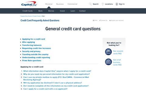 Screenshot of FAQ Page capitalone.com - Credit Card FAQ | Capital One - captured May 16, 2016