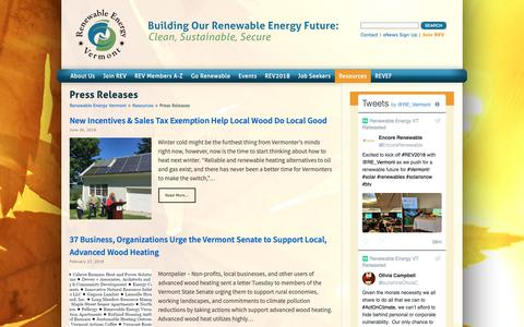 Screenshot of Press Page revermont.org - Press Releases | Renewable Energy Vermont - captured Oct. 18, 2018