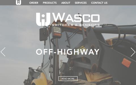 Screenshot of Home Page wascoinc.com - Wasco Switches & Sensors - captured Jan. 20, 2018