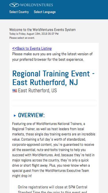 Event Detail - WorldVentures Representative Events System