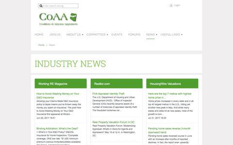 Screenshot of Press Page azcoaa.us - Coalition of Arizona Appraisers - News - captured Aug. 11, 2017