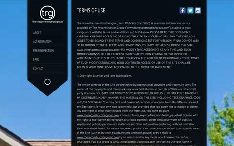 Screenshot of Terms Page thereconstructiongroup.com - Terms of Use | The Reconstruction Group - captured Oct. 9, 2014